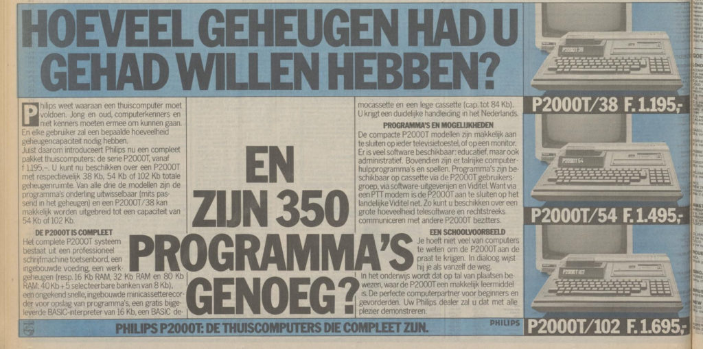 Newspaper advertisement of the P2000T