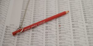 Voting sheet with red pencil